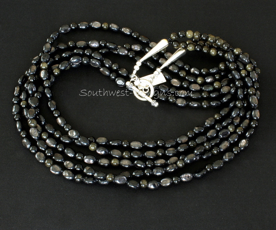 Hypersthene Oval 5-Strand Necklace with Obsidian Rounds and Sterling Silver