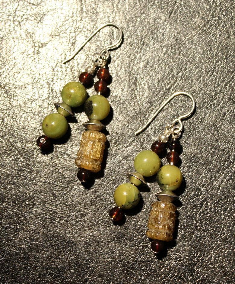 British Columbia Jade, Black Amber, Ornate Carved Glass Drum Beads and Sterling Silver Earrings with Sterling Silver Earring Wires