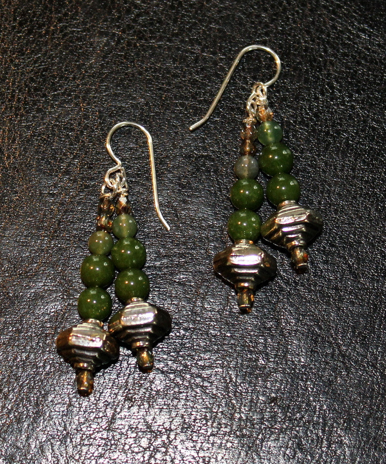 Green Jade, Moss Agate, Fire Polished Glass and Sterling Silver Earrings with Sterling Silver Earring Wires