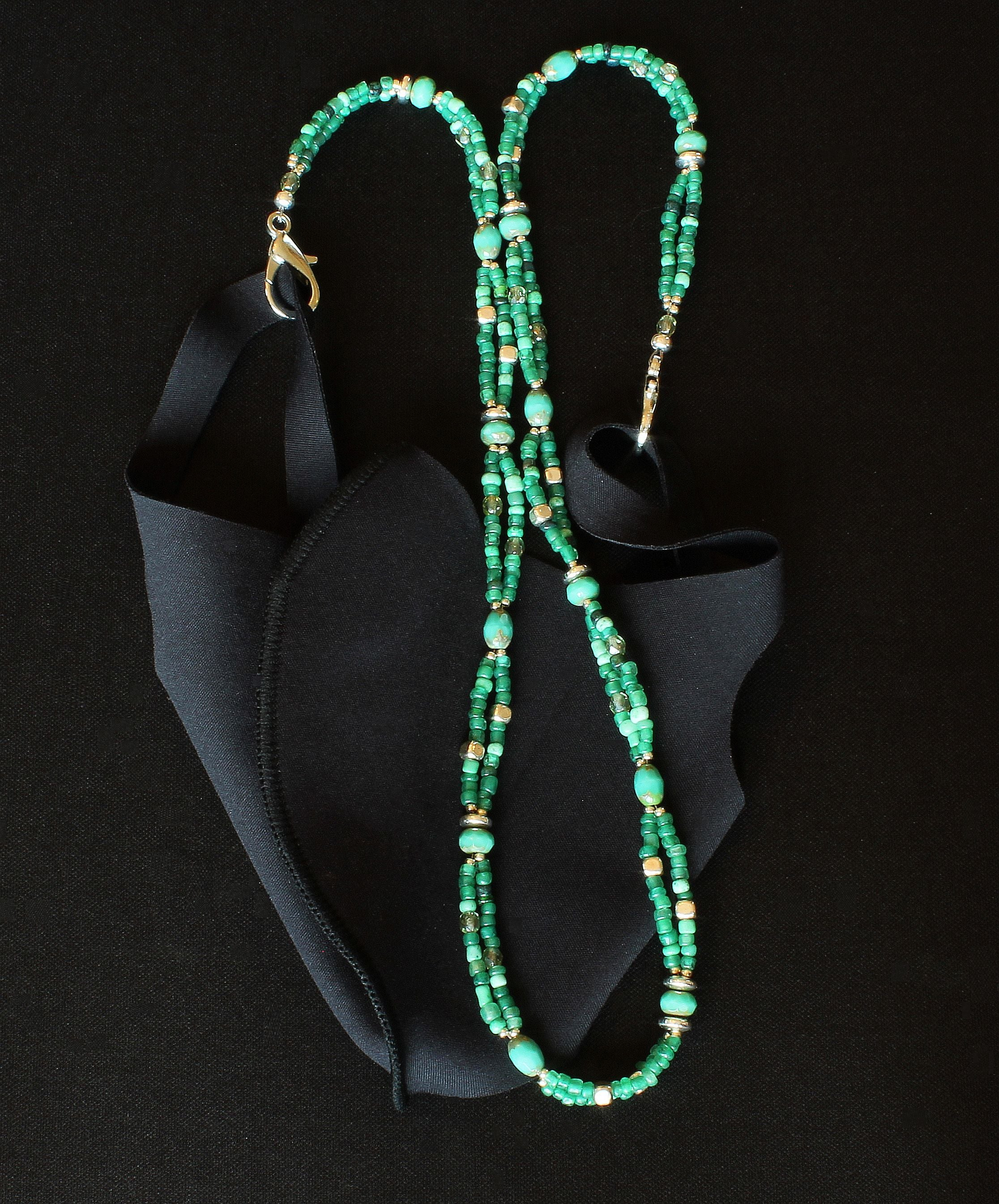 Green Multi 2-Strand Glass Mask Lanyard with Czech Glass and Plated Silver