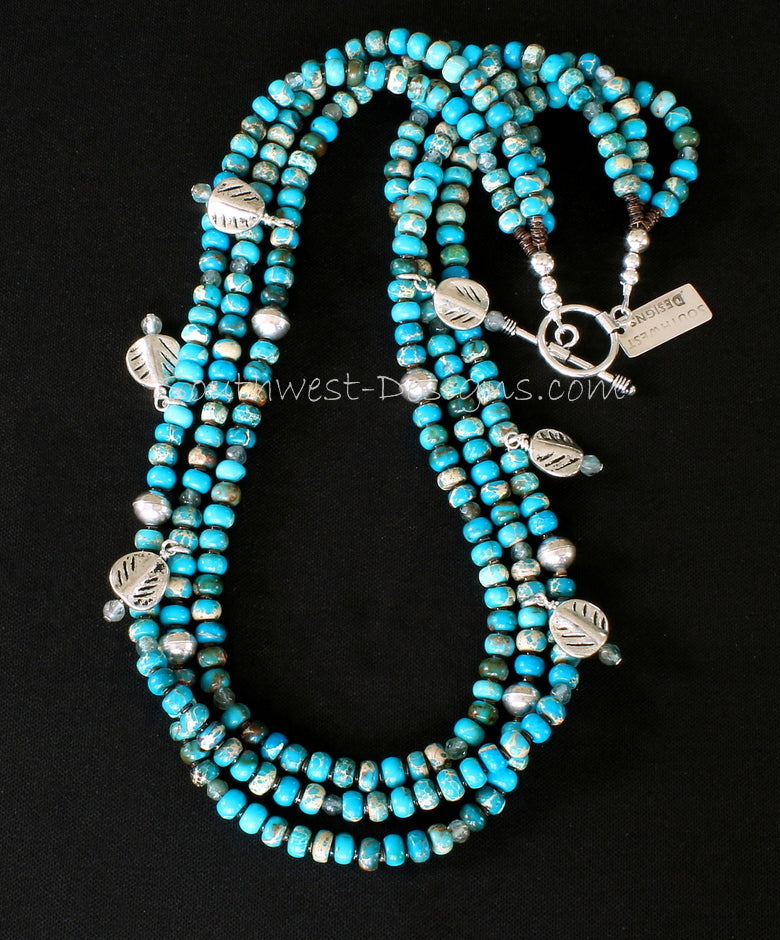 Imperial Jasper 3-Strand Necklace with Sterling Silver Leaf Charms, Olive Shell Heishi, and Sterling Beads and Toggle Clasp