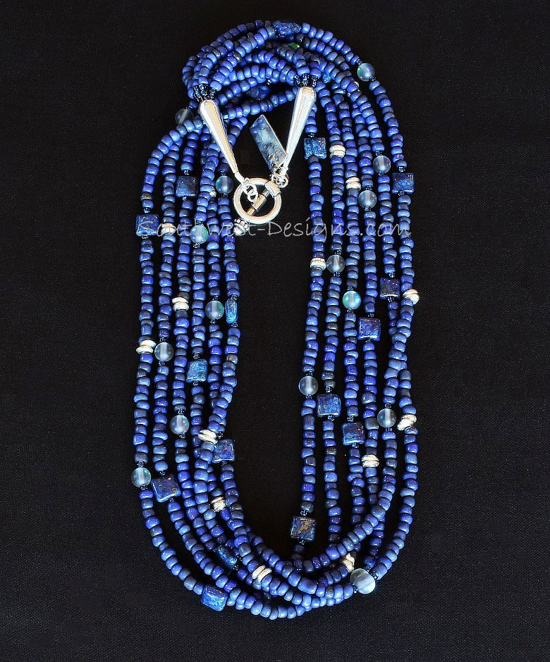 Blue Indonesian Glass 6-Strand Necklace with Lapis, Blue Crystal Rounds and Sterling Silver