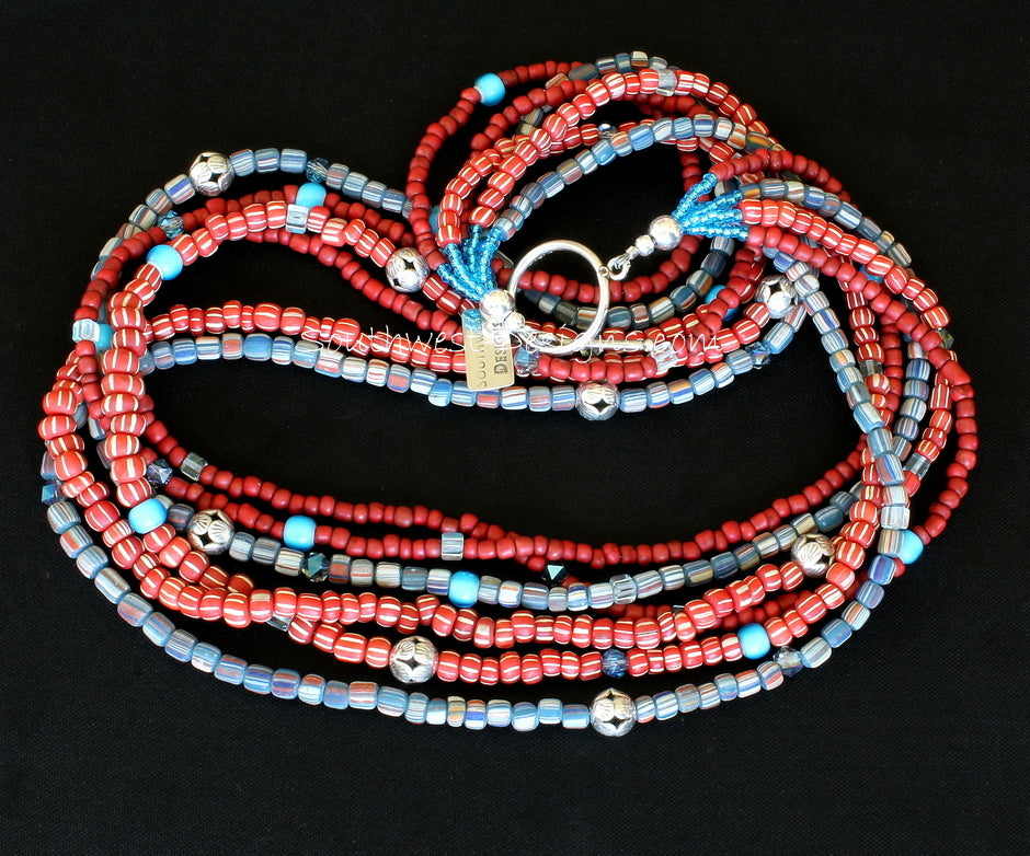 Indonesian Glass 6-Strand Necklace with White Heart Beads, Fire Polished Glass and Sterling Silver