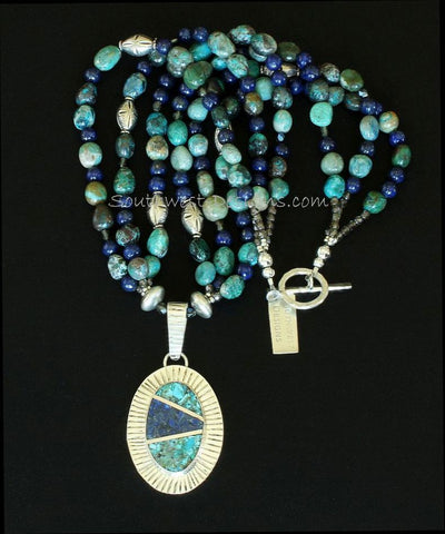 Inlaid Lapis, Turquoise & Sterling Silver Pendant with Chrysocolla & Lapis