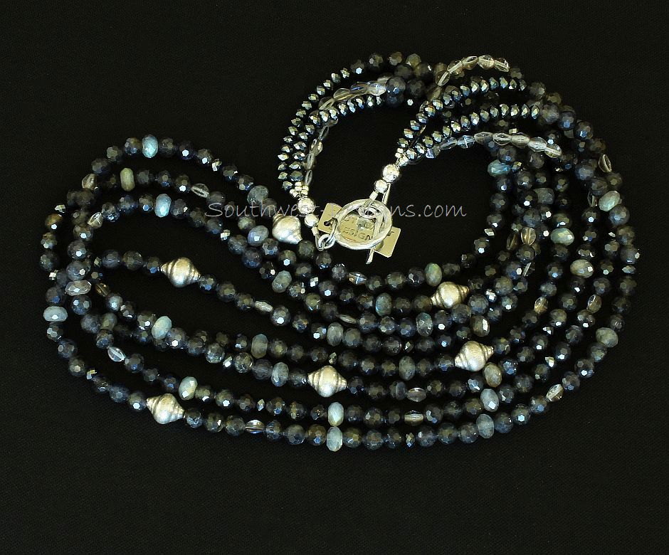 Iolite and Labradorite 4-Strand Necklace with Czech Glass and Sterling Silver