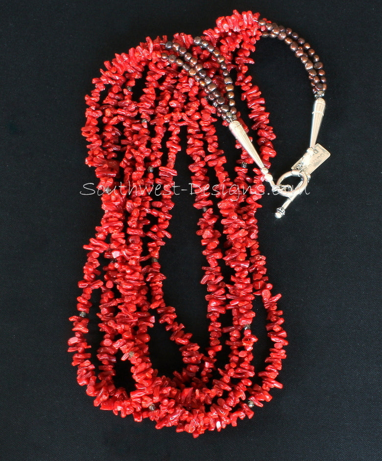 Italian Coral Cupolini 5-Strand Necklace with Fire Polished Glass, Bronze Nugget Pearls and Sterling Silver