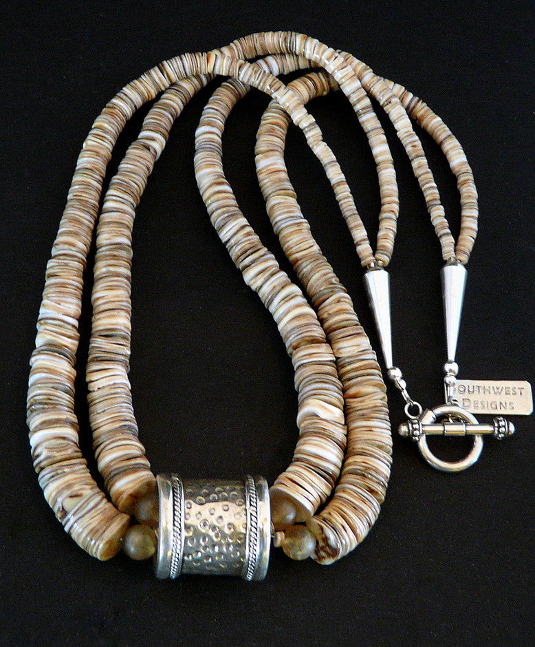 Graduated Ivory Shell Heishi 2-Strand Necklace with Hammered Sterling