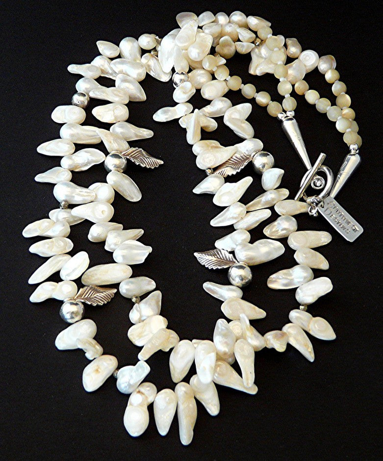 Ivory Keshi Pearl 2-Strand Necklace with Sterling Silver Beads & Charms