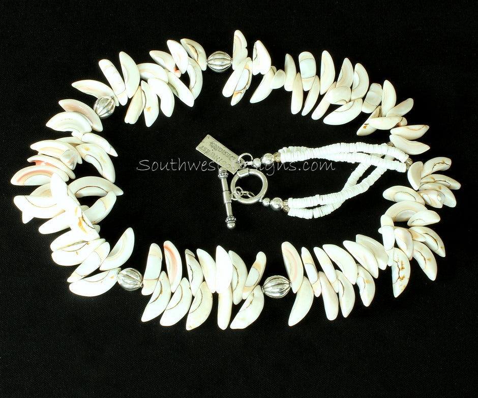 Ivory Seashell Graduated Spike Necklace with Sterling Silver Melon Beads and Toggle Clasp