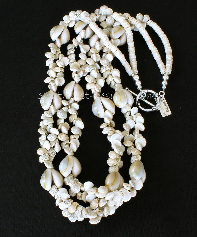 Ivory Ursula & Cowrie Shell 2-Strand Necklace with Sterling Silver