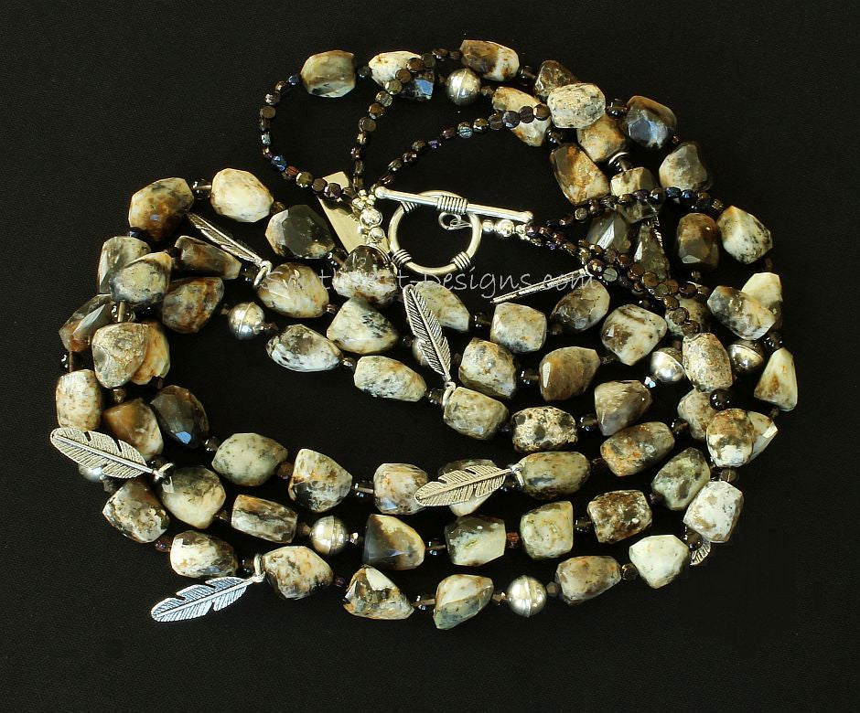 Jasper Tumbled Nugget 3-Strand Necklace with Sterling Silver