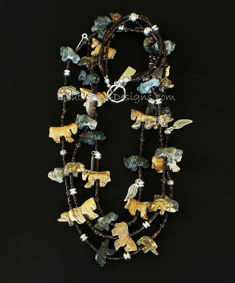 36-Piece Jasper and Black Horn Talisman Necklace with Smoky Quartz and Sterling Silver Leaves, Beads and Toggle Clasp