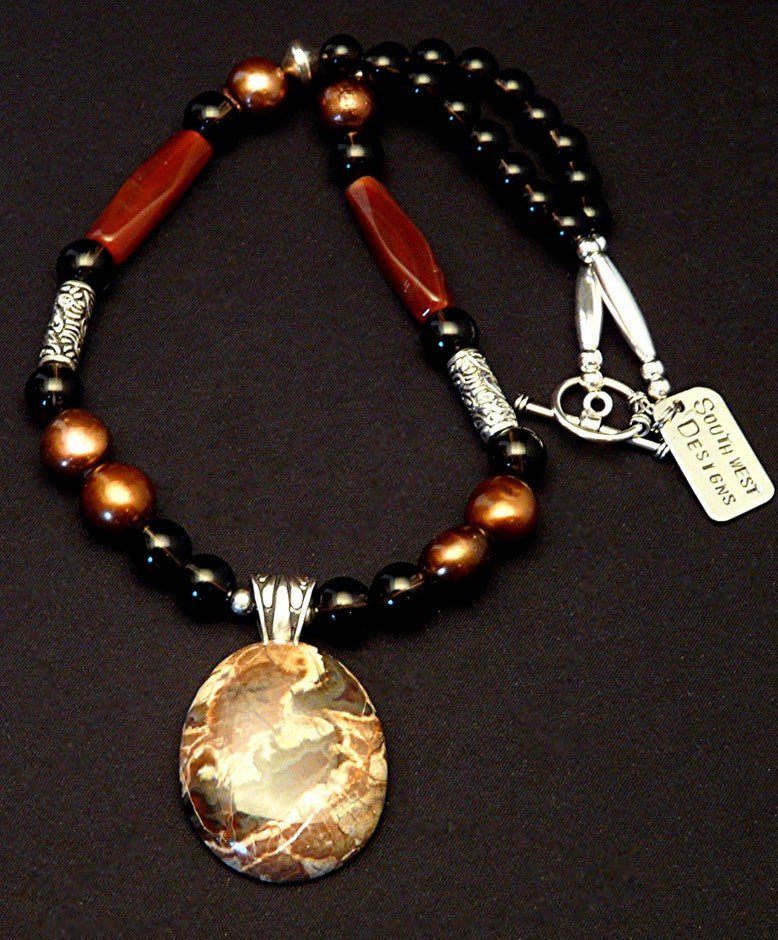 Jasper & Sterling Silver Pendant with Smoky Quartz, Carnelian, Pearls & Sterling