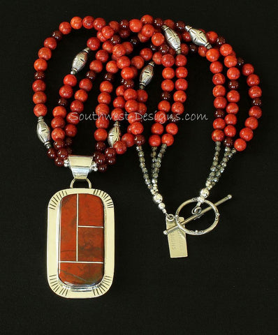 Chestnut Jasper & Sterling Silver Inlaid Pendant with Apple Coral, Carnelian and Sterling Silver
