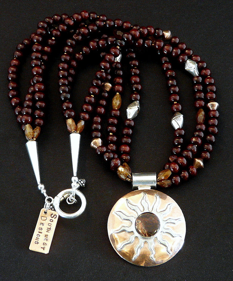 Rosewood and Hessonite Garnet Necklace with Sterling and Copper Pendant