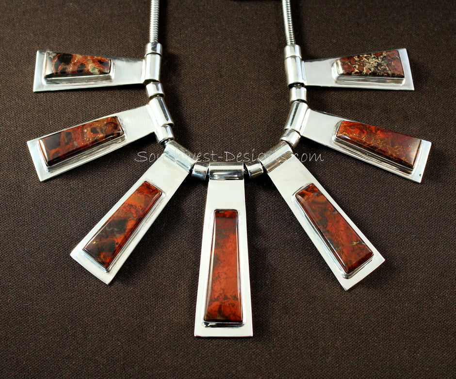 7-Pendant Rainbow Brecciated Jasper and Sterling Silver Bib Necklace