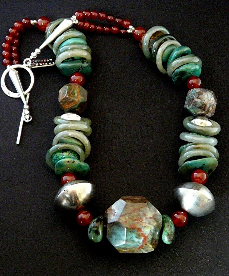 Faceted Jasper Nugget Necklace with Turquoise, Jade, Carnelian & Sterling