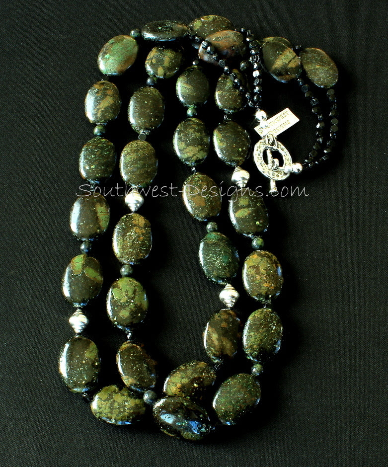 Kambaba Jasper Ovals 2-Strand Necklace with Serpentine, Czech Nailheads and Sterling Silver