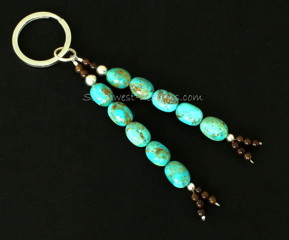 Key Ring with Kingman Turquoise Ovals, Black Agate and Sterling Silver