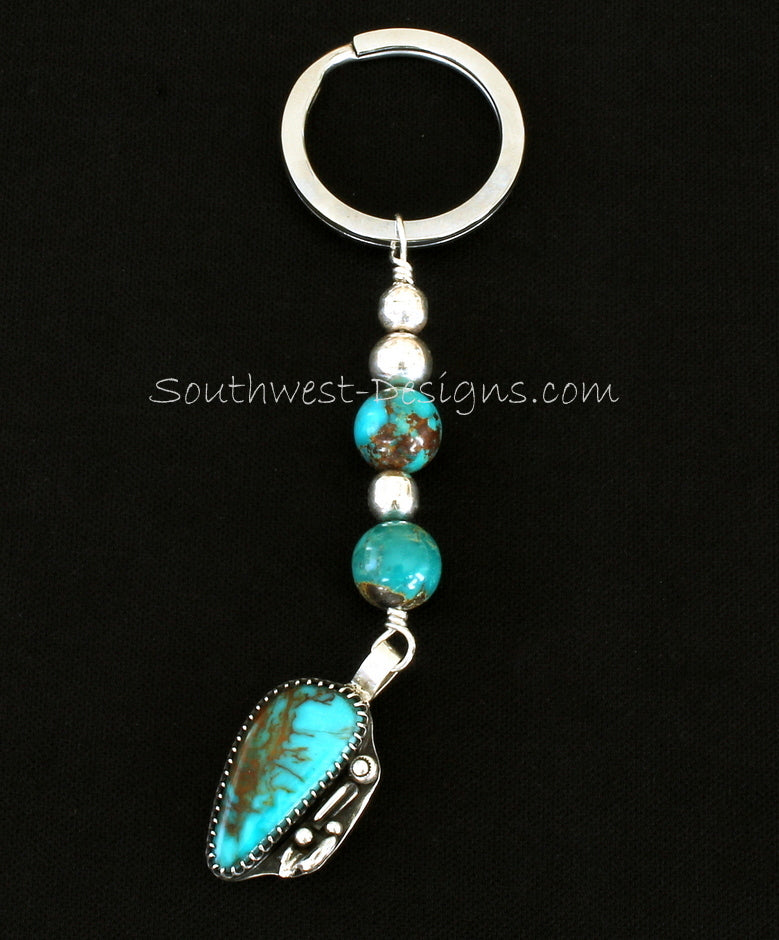 Key Ring with Vintage Turquoise & Sterling Pendant, Kingman Turquoise Rounds and Sterling