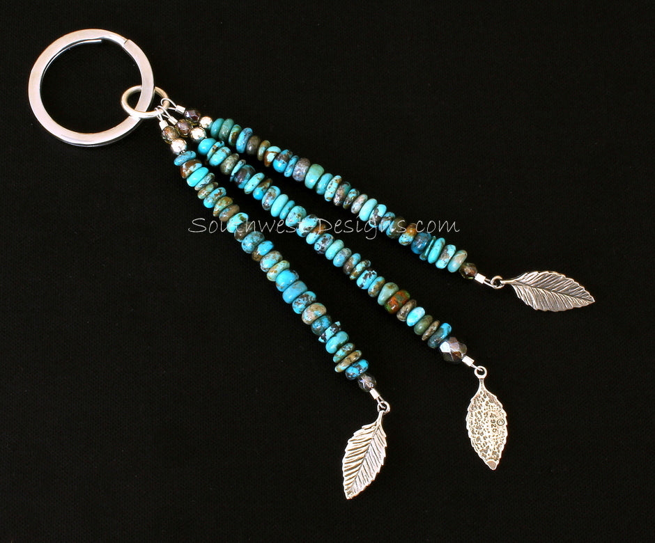 Key Ring with 3 Strands of Turquoise Rondelles, Fire Polished Glass, Sterling Silver Leaf Charms and Sterling Rounds