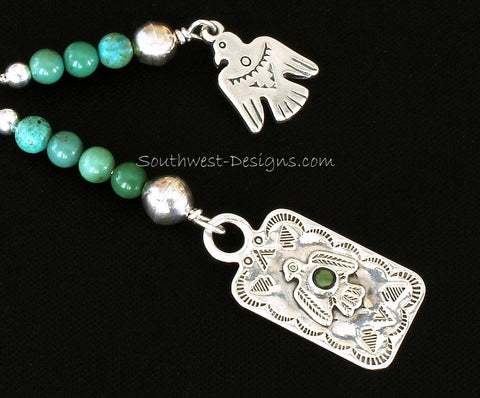 Key Ring with Turquoise & Sterling Thunderbird Pendant, Thunderbird Charm, and Turquoise and Sterling Rounds