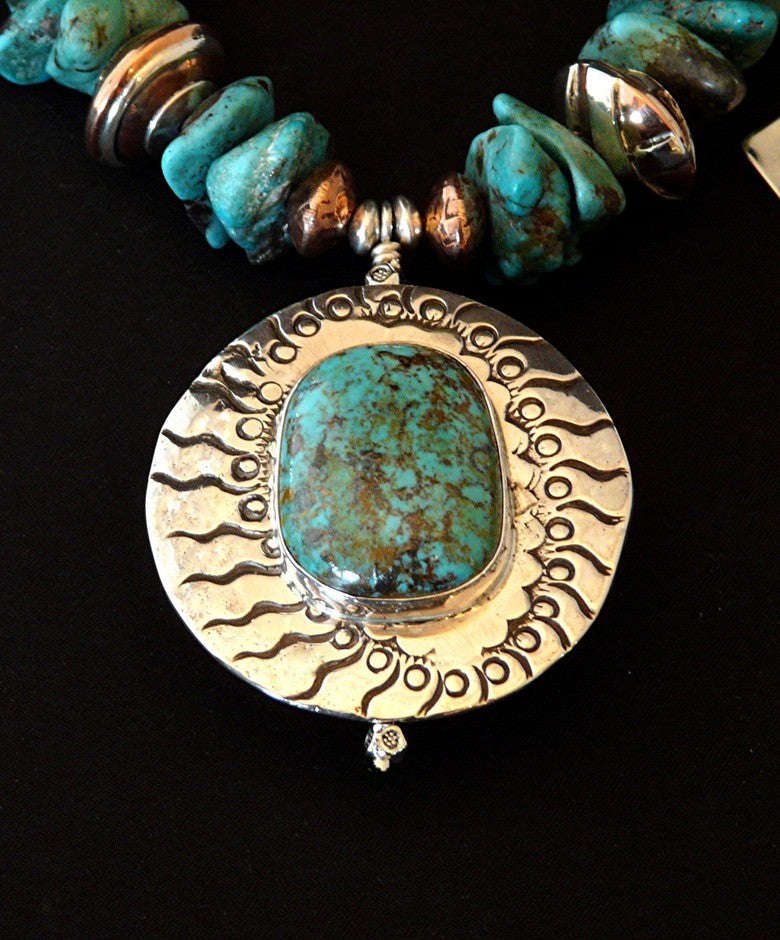 Kingman Turquoise, Sterling and Copper Pendant Necklace