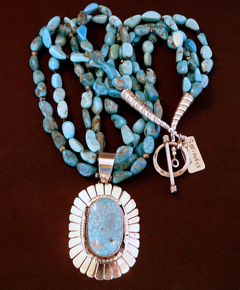 Kingman Turquoise & Sterling Pendant with Troy Springs Turquoise