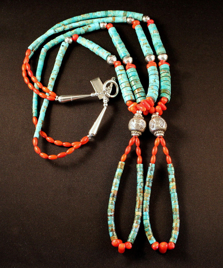 Kingman Turquoise 2-Strand Necklace with Jacla, Coral & Sterling