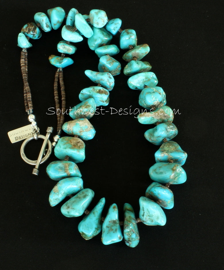 Kingman Turquoise Graduated Nuggets with Olive Shell Heishi and Sterling Silver