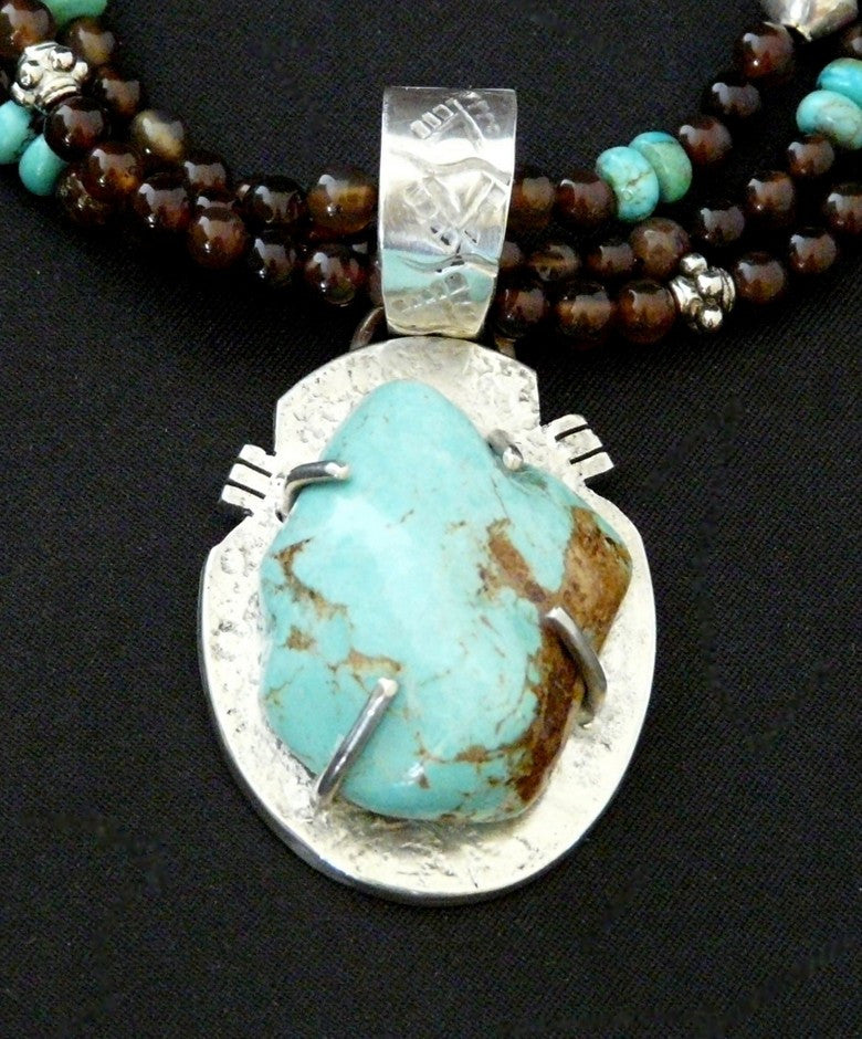 Kingman Turquoise & Sterling Post-Set Pendant with Black Agate, Turquoise & Sterling