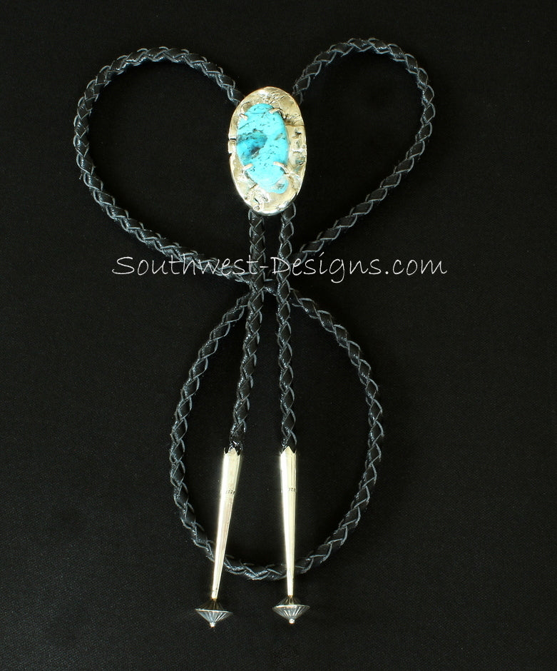 Prong-Set Kingman Turquoise and Reticulated Silver Bolo Pendant with Sterling Silver Slide, Braided Leather Cord, and Sterling Bolo Tips