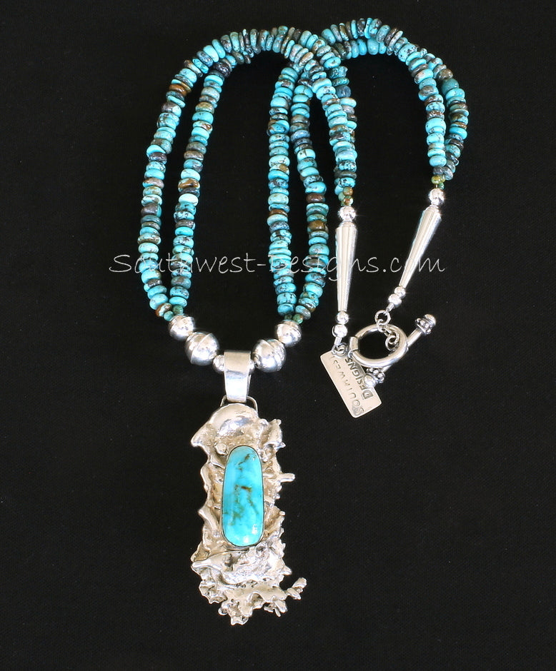 Kingman Turquoise & Reticulated Silver Pendant with 2 Strands of Turquoise Rondelles and Sterling Silver