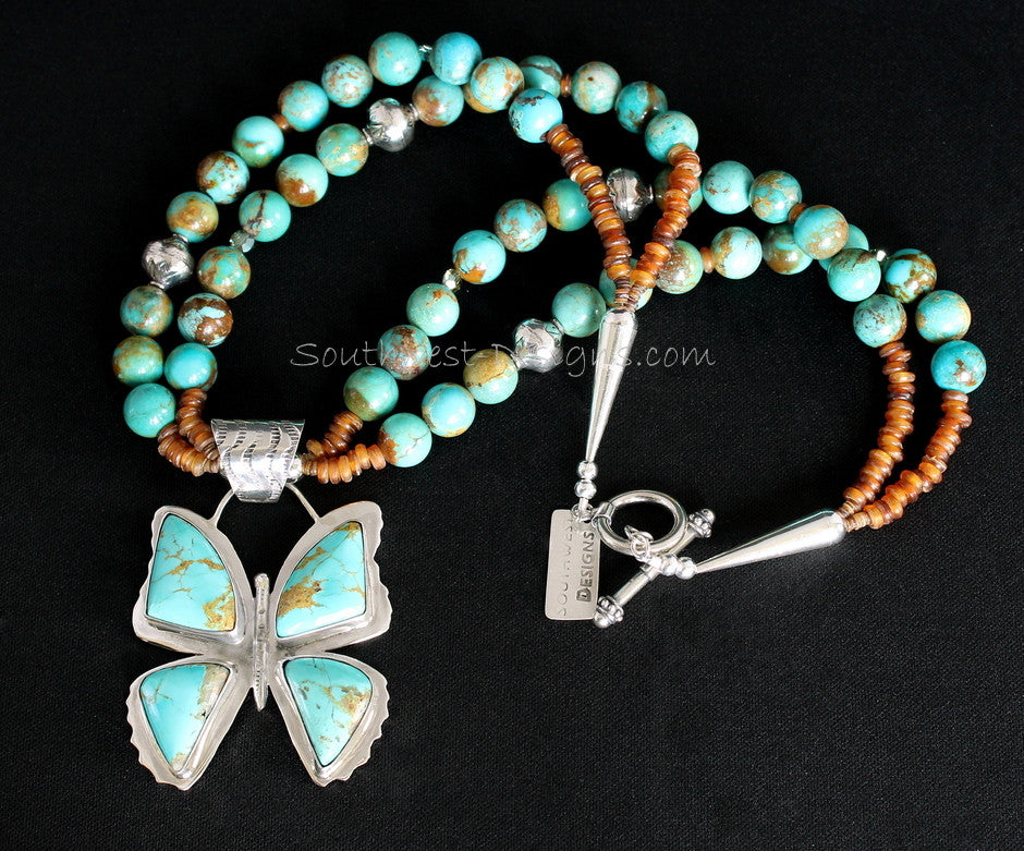 Kingman Turquoise & Sterling Silver Butterfly with 2 Strands of Turquoise Rounds, Amber Horn Bead & Sterling
