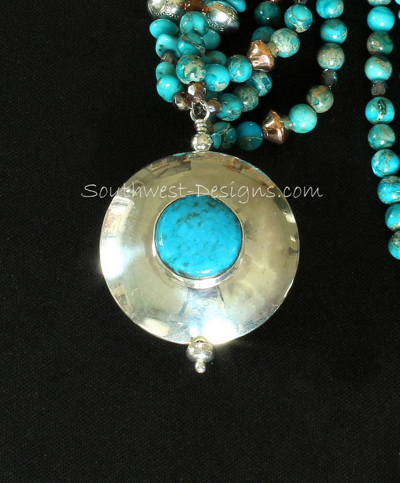 Kingman Turquoise, Sterling and Copper 2-Sided Domed Thunderbird Pendant