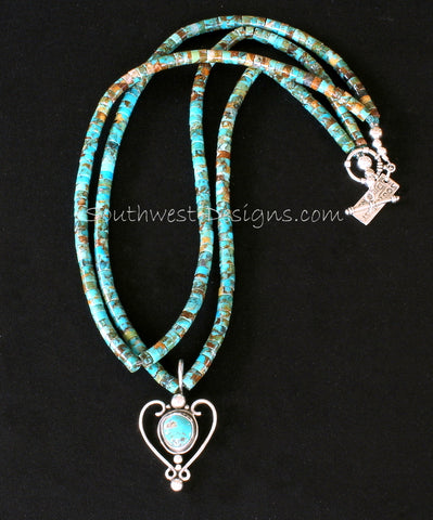 Kingman Turquoise and Sterling Silver Heart with 2 Strands of Kingman Turquoise Heishi and Sterling