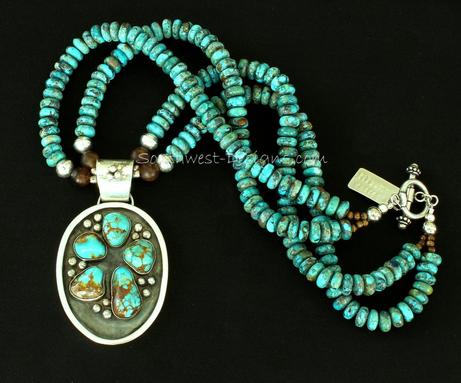 5-Stone Kingman Turquoise & Sterling Oxidized Pendant with 2 Strands of Kingman Rondelles, Amber Quartz and Sterling Silver