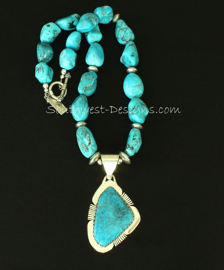 Kingman Turquoise & Sterling Pendant with 2 Strands of Nevada Blue Gem Nuggets & Sterling
