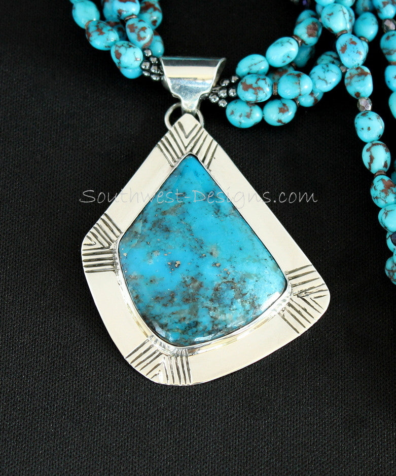 Kingman Turquoise and Sterling Silver Pendant with 3 Strands of Egyptian Turquoise Nuggets and Ornate Sterling