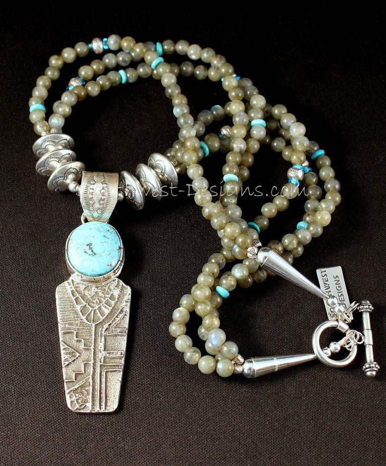 Tufa Cast Kingman Turquoise & Sterling Silver Pendant with 3 Strands of Labradorite & Sterling Rondelles