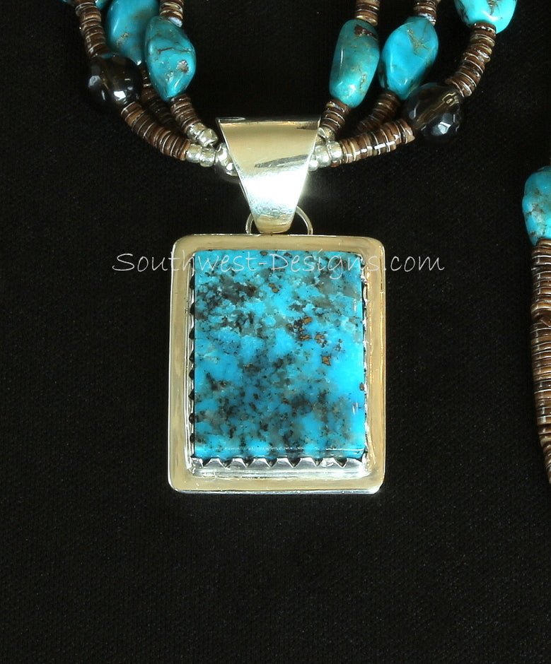 Kingman Turquoise & Sterling Silver Pendant with Nevada Blue Turquoise Nuggets, Smoky Quartz Rounds, Olive Shell Heishi and Sterling
