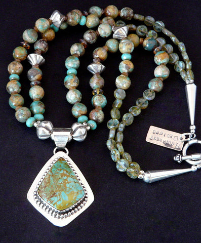 Kingman Turquoise & Sterling Pendant with Royston Boulder Turquoise