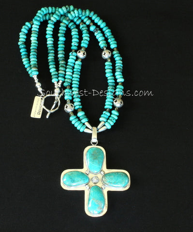 Kings Mine Turquoise and Sterling Silver Cross Pendant with 2 Strands of Turquoise Rondelles, Fire Polished Glass and Sterling Silver