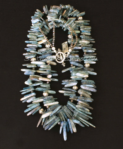 Kyanite Spike 2-Strand Necklace with Fire Polished Glass, Fluted Sterling Silver Bicones, and Sterling Silver Toggle Clasp