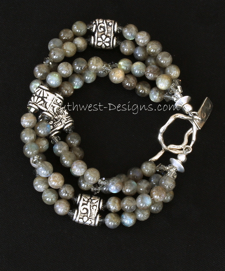 Labradorite 4-Strand Round Bead Bracelet with Black Diamond Swarovski Crystal Bicones and Ornate Sterling Silver