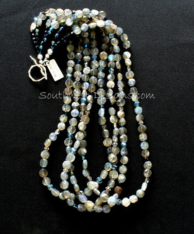 Labradorite Coin Bead 4-Strand Necklace with Czech Glass and Sterling Silver