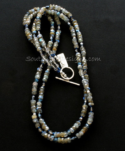 Labradorite Faceted Rondelle Bead Necklace with Czech Glass and Sterling Silver