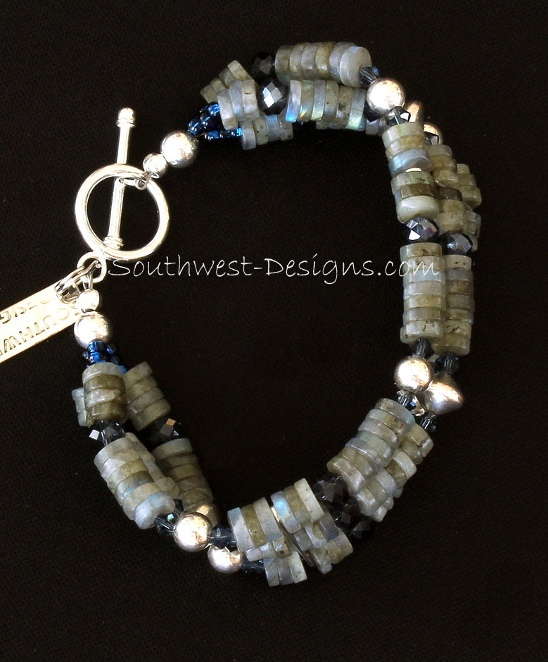 Labradorite Heishi 3-Strand Bracelet with Swarovski Crystal and Sterling Silver
