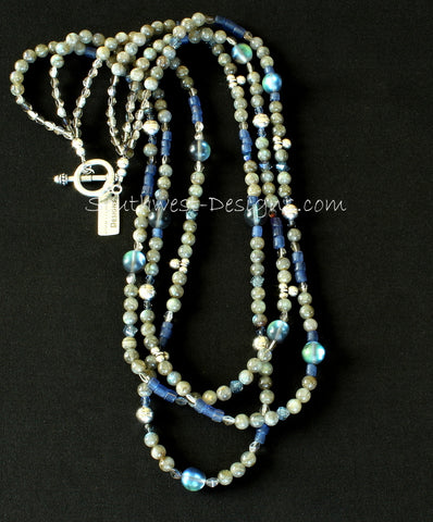 Labradorite and Indonesian Glass 3-Strand Necklace with Fire Polished Glass and Sterling Silver