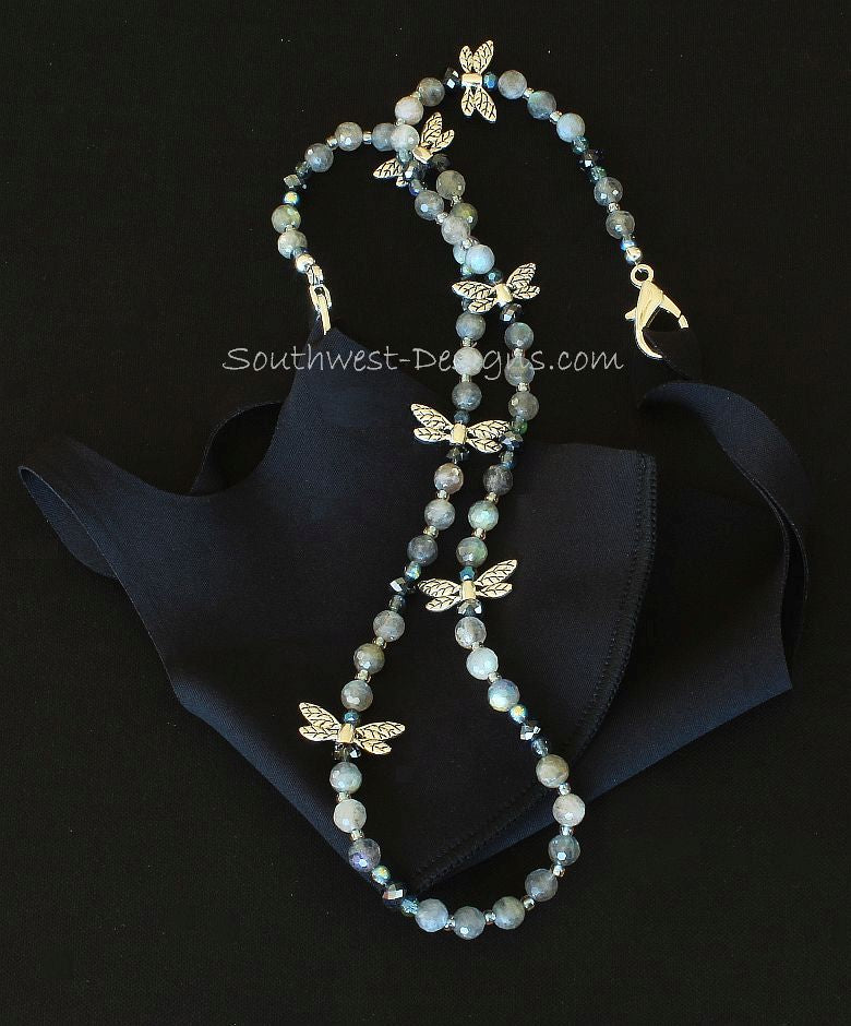 Labradorite Faceted Rounds Mask Lanyard with Blue Crystal, Czech Glass and Silver Dragonfly Charms